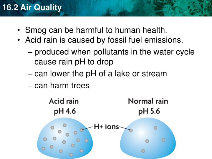 Acid rain is caused by fossil fuel emissions.