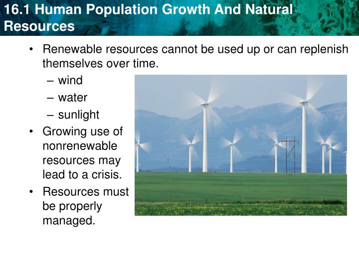Renewable resources cannot be used up or can replenish themselves over time.