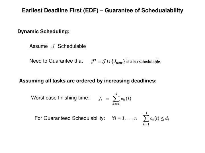 Earliest Deadline First (EDF) – Guarantee of Schedualability