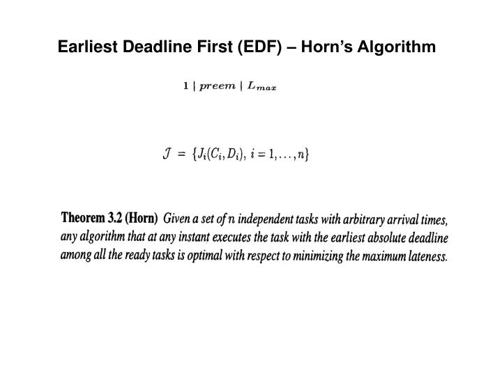 Earliest Deadline First (EDF) – Horn's Algorithm