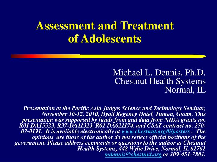 assessment and treatment of adolescents n.
