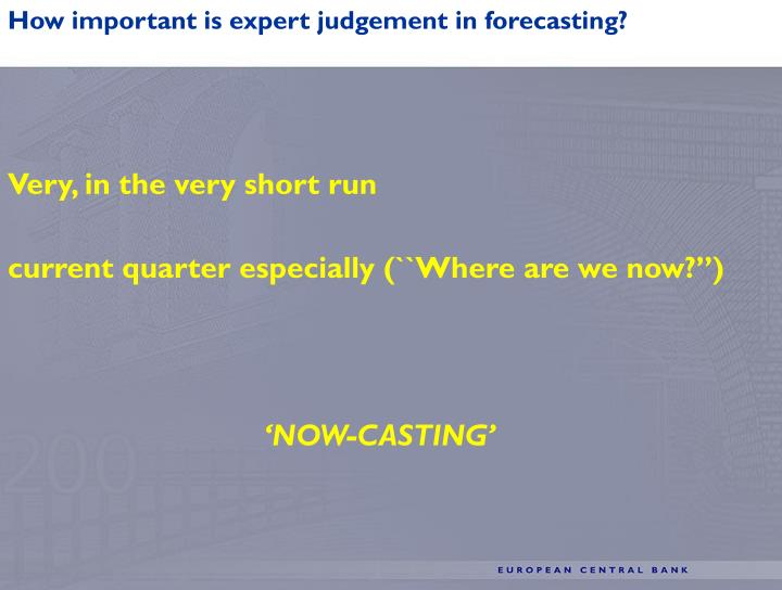 How important is expert judgement in forecasting?