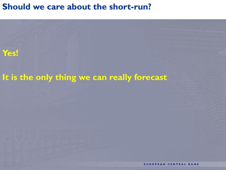 Should we care about the short-run?