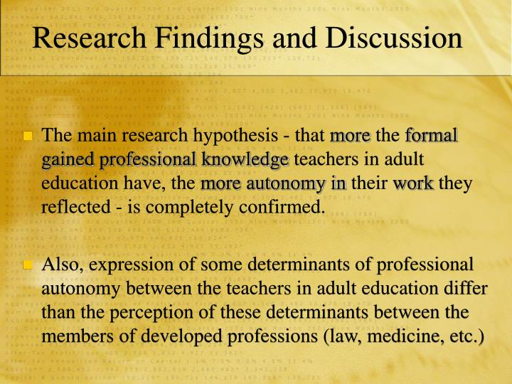 Research Findings and Discussion