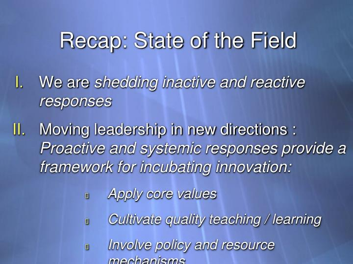 Recap: State of the Field