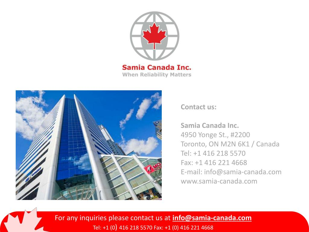 PPT - For any inquiries please contact us at info@samia