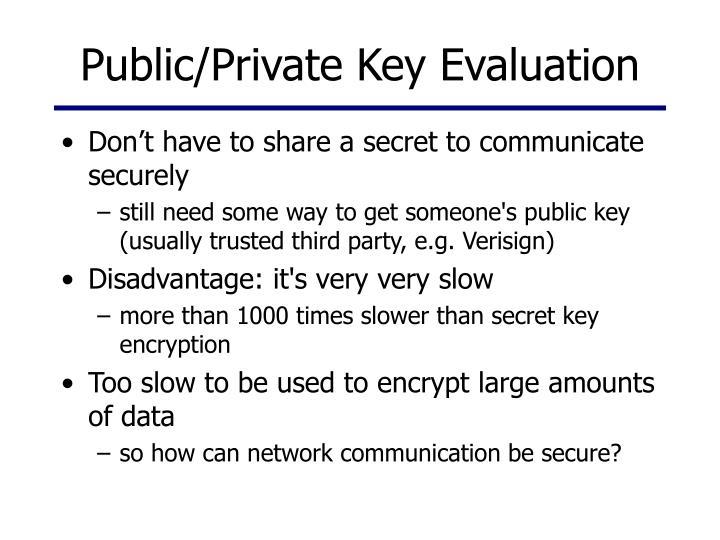 Public/Private Key Evaluation