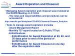 award expiration and closeout1