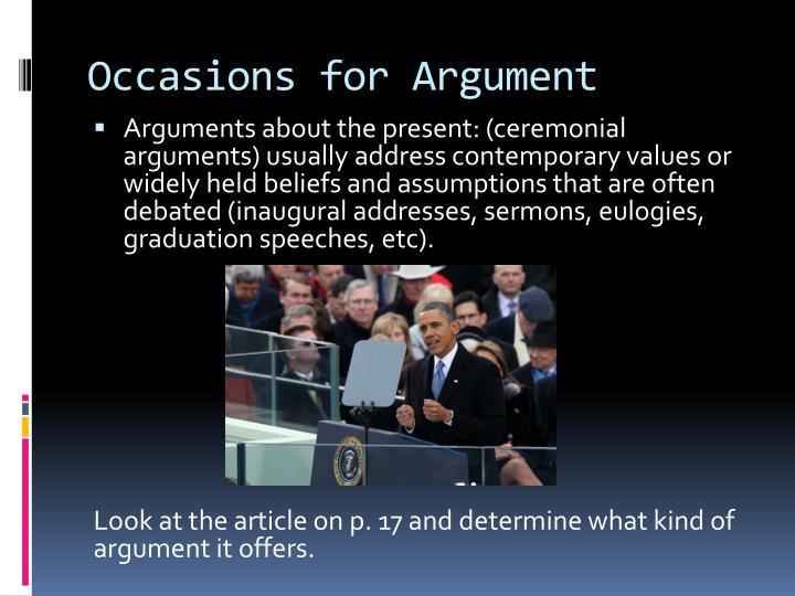 ceremonial argument
