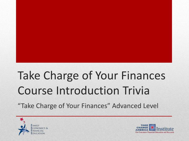 take charge of your finances advanced level n.