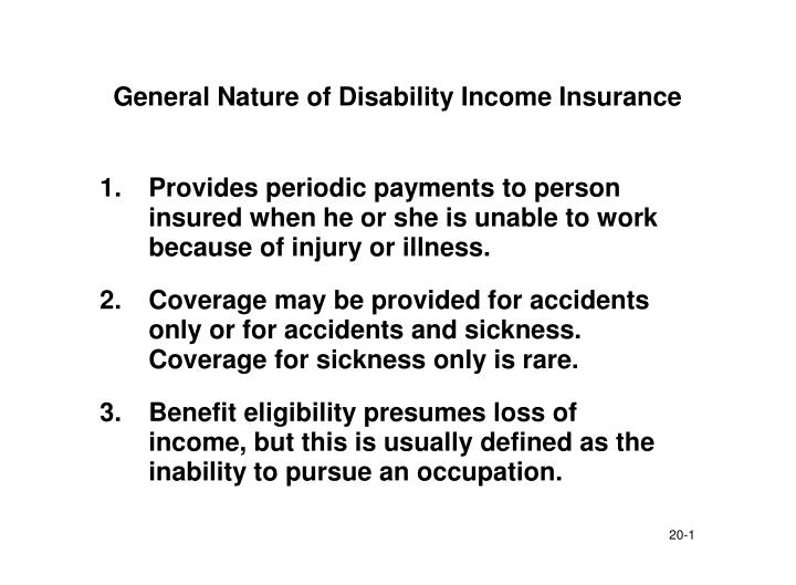 general nature of disability income insurance n.