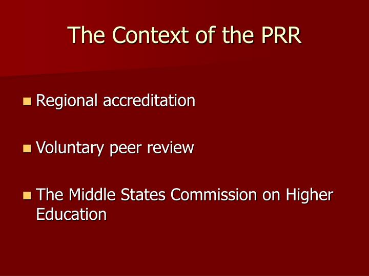 The context of the prr