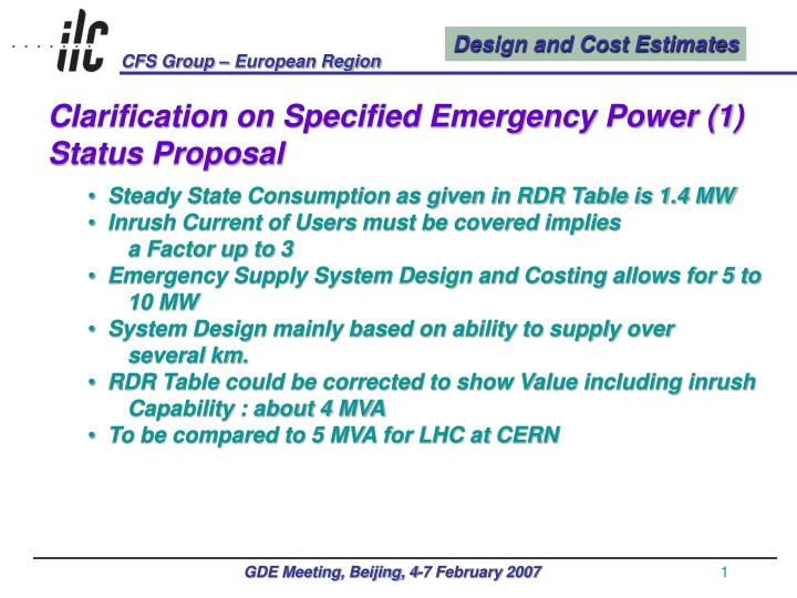Clarification on Specified Emergency Power (1)