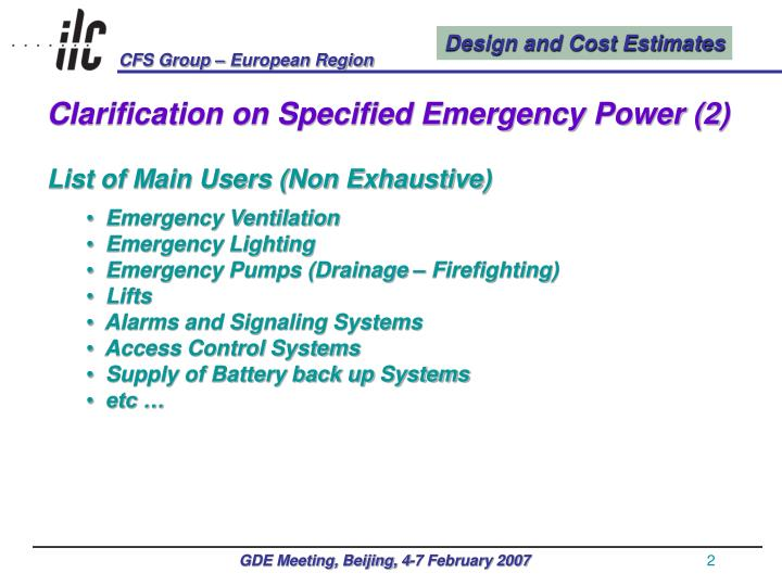 Clarification on Specified Emergency Power (2)