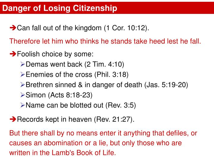 Danger of Losing Citizenship