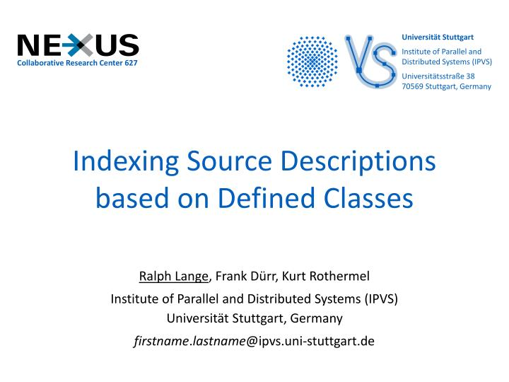 indexing source descriptions based on defined classes n.