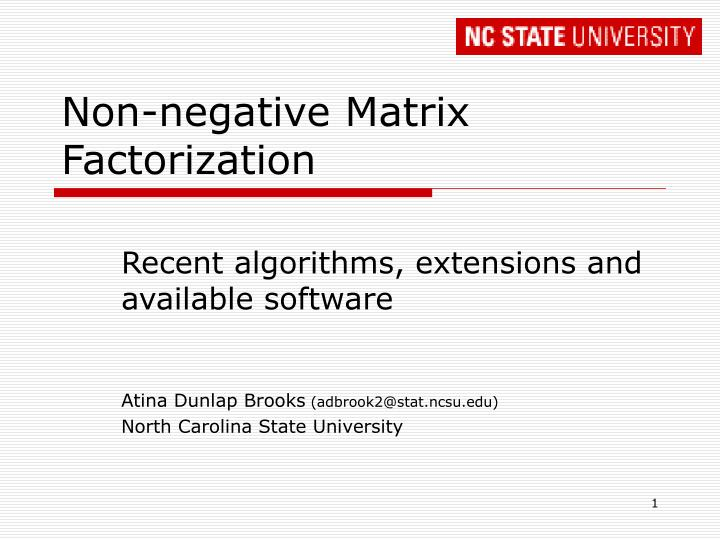 non negative matrix factorization n.