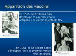 apparition des vaccins