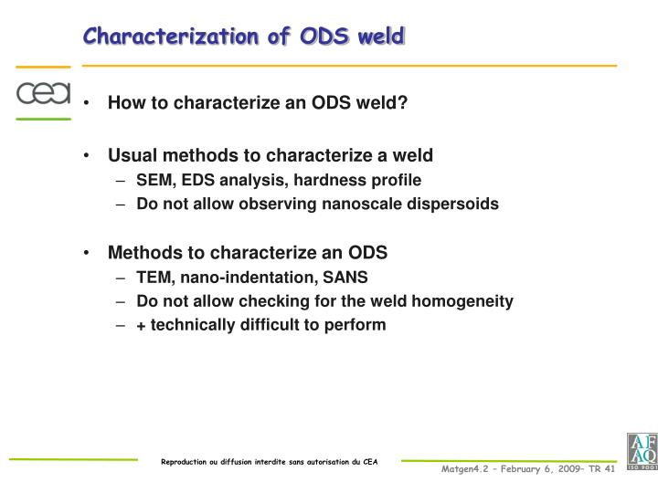 Characterization of ODS weld