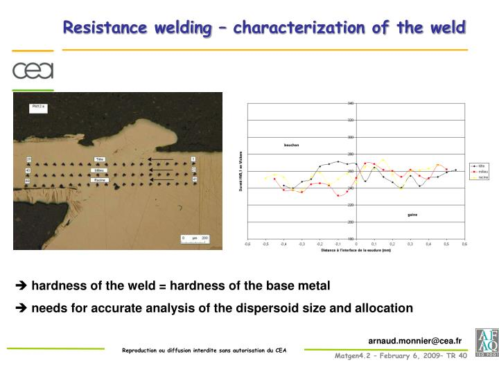 Resistance welding – characterization of the weld