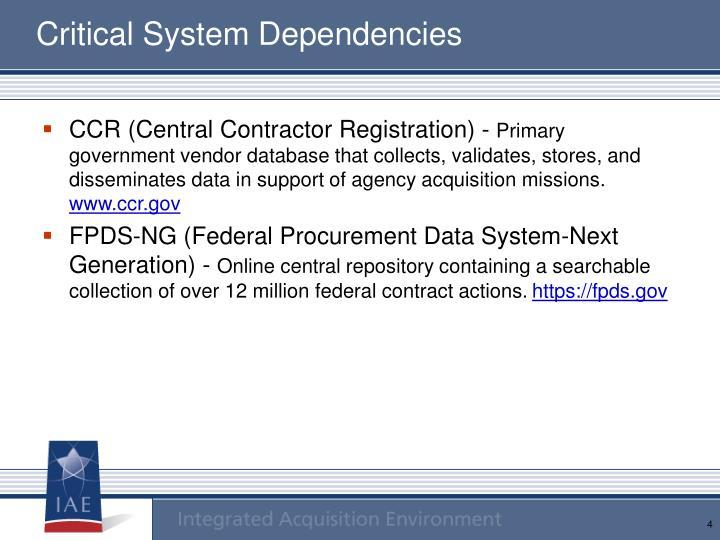 Critical System Dependencies