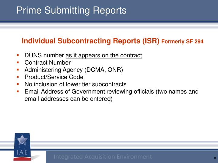 Prime Submitting Reports