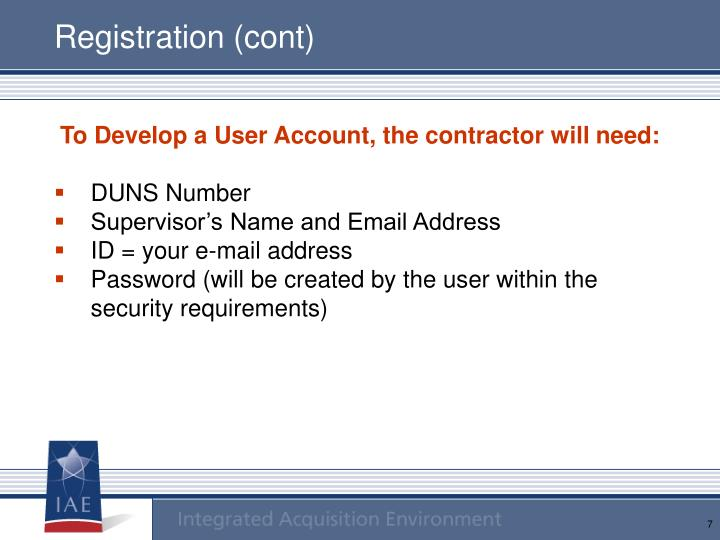 Registration (cont)