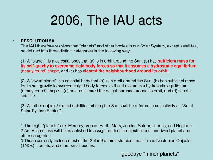 2006, The IAU acts