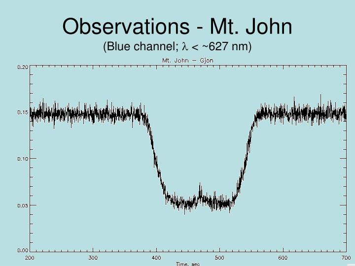 Observations - Mt. John