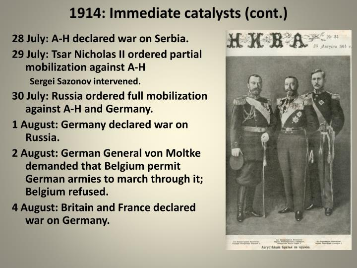 1914: Immediate catalysts (cont.)