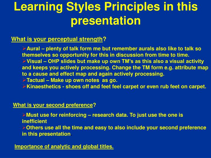 learning styles principles in this presentation n.