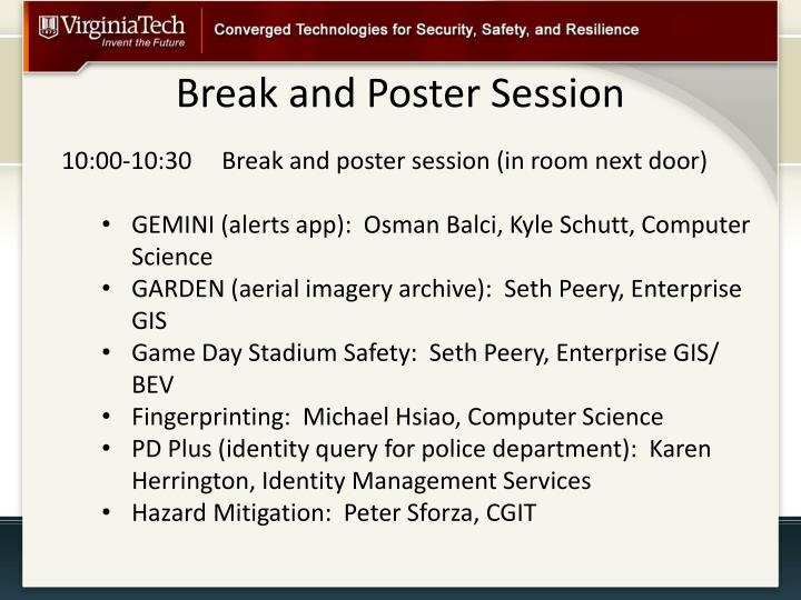 Break and poster session