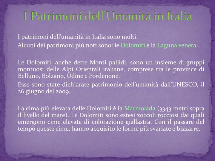 I Patrimoni dell'Umanità in Italia