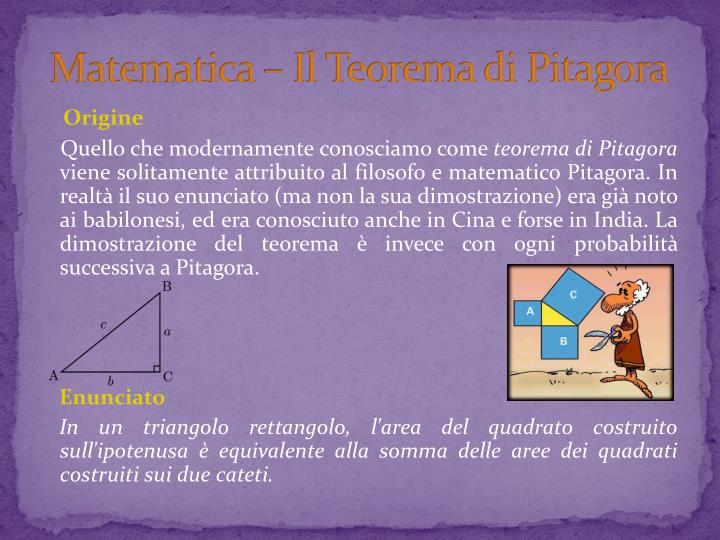 Matematica – Il Teorema di Pitagora