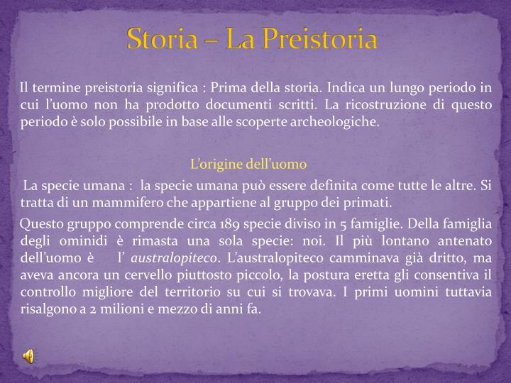 Storia – La Preistoria