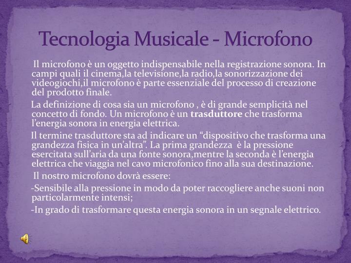 Tecnologia Musicale - Microfono