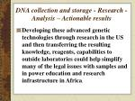dna collection and storage research analysis actionable results