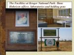the facilities at kruger national park hans hoheisen offices laboratories and holding pens