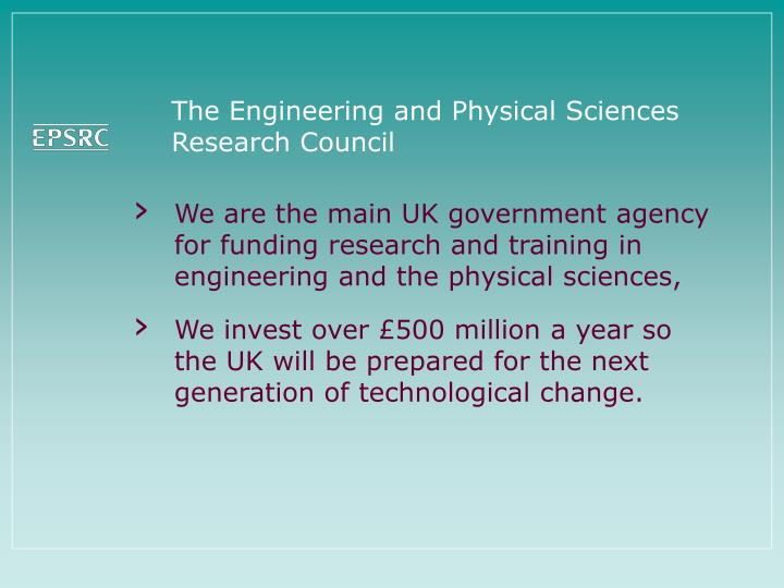 the engineering and physical sciences research council n.
