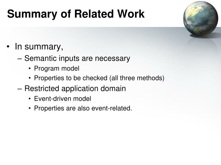 Summary of Related Work