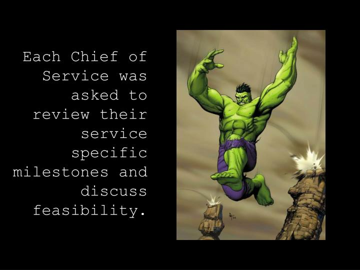 Each Chief of Service was asked to review their service specific milestones and discuss feasibility.