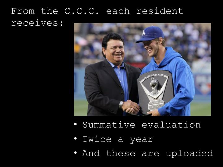 From the C.C.C. each resident receives: