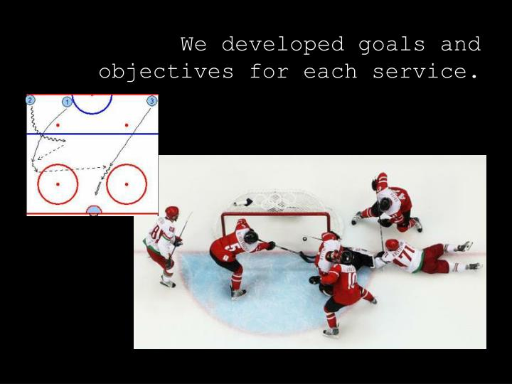 We developed goals and objectives for each service.