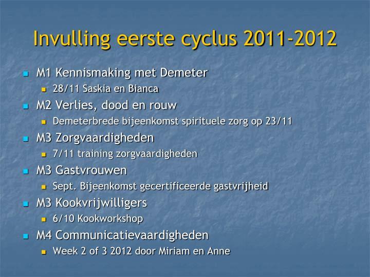 Invulling eerste cyclus 2011-2012