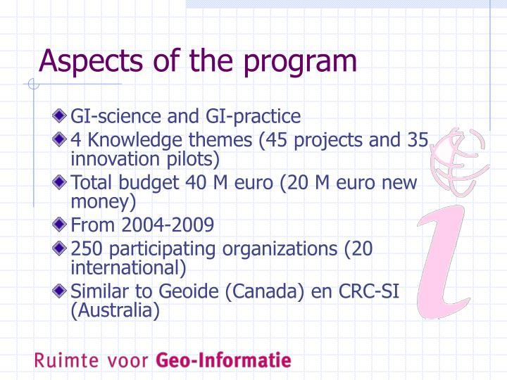 Aspects of the program
