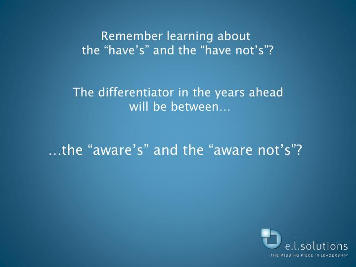 Remember learning about
