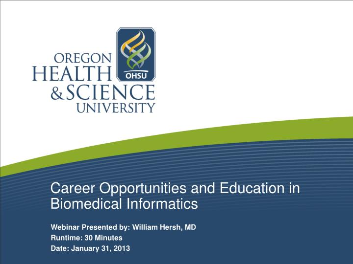 career opportunities and education in biomedical informatics n.