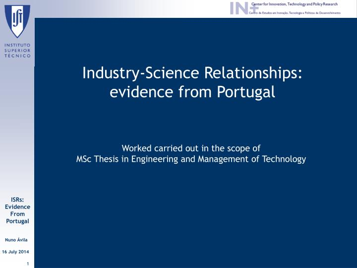industry science relationships evidence from portugal n.
