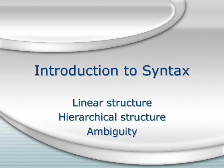 introduction to syntax n.