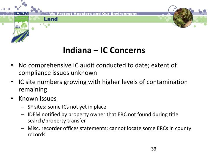 No comprehensive IC audit conducted to date; extent of compliance issues unknown